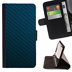 Momo Phone Case / Flip Funda de Cuero Case Cover - Textura Blue Lines - HTC One M7