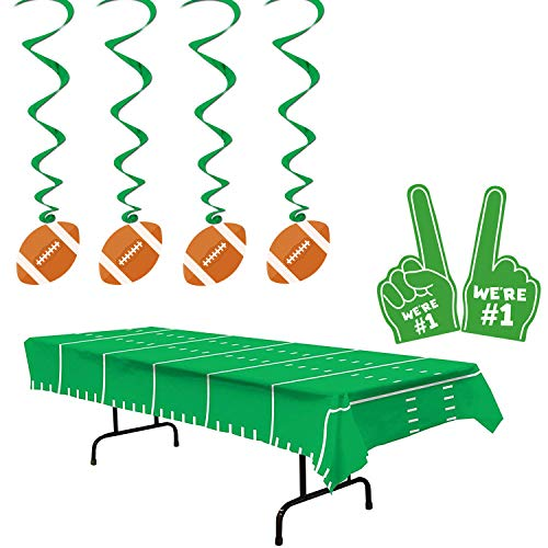 Super Bowl Party Disposable Plastic Tablecloth - 2 Pack Foam Finger with Hanging Swirl for Game Day Football Birthday Gifts Tailgate Party Sport Theme Table Cover kickoff Party Decorations 54x102 Inch ()