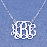 3 Initials Monogram Necklace 1 Inch Sterling Silver Monogrammed Jewelry, Bridesmaids Gift SM31C