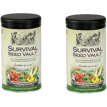 Survival Seed Vault Non-GMO Hardy Heirloom Seeds for Long-Term Emergency Storage – 20 Variety Pack in a Sturdy Can (2 Sturdy Can)
