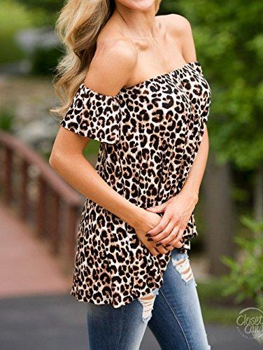 Manches T Monika Chemisiers Bateau Courtes t Blouse Impression Shirt Lopard Fashion Femmes Chic Haut Tee Noir Tops Col xYrzFwYBq
