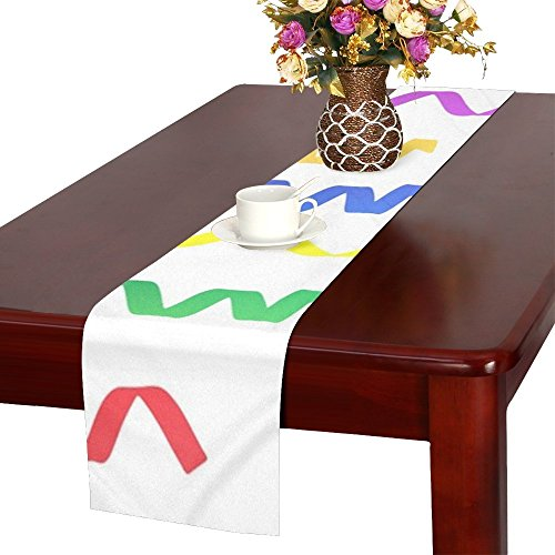 QYUESHANG Streamers Ribbons Decoration Colourful White Table Runner, Kitchen Dining Table Runner 16 X 72 Inch For Dinner Parties, Events, Decor -