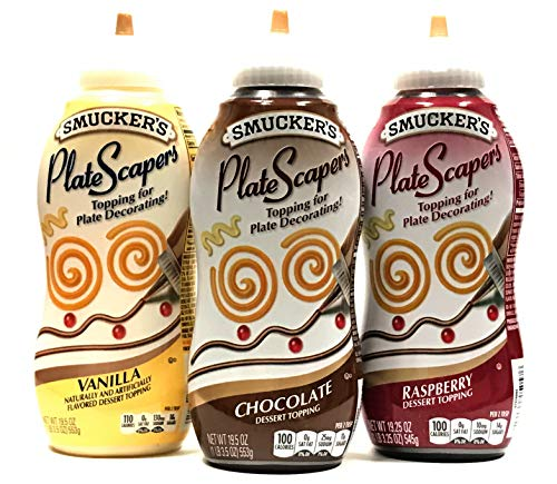 Smucker's PlateScrapers Plate Decorating Dessert Topping (Raspberry, Vanilla, Chocolate) 19.5oz | 3 Packs