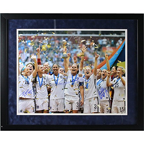 Christie Rampone/Kelly Ohara/Julie Johnston/Carli Lloyd Signed And Framed Team USA 2015 Womens World Cup Final Champions Trophy Celebration 16 inch x 20 inch Photo Flat Black Frame W/ Blue Over White
