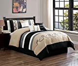Black and Tan Comforter Sets King JBFF 7 Piece Oversized Luxury Embroidery Bed in Bag Microfiber Comforter Set Black Tan (King)