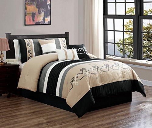 JBFF 7 Piece Oversized Luxury Embroidery Bed in Bag Microfiber Comforter Set Black Tan (Cal King) ()