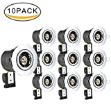 NONMON 10 Pack Fire Rated Downlights, GU10 Tiltable Recessed Ceiling Light Cans Chrome