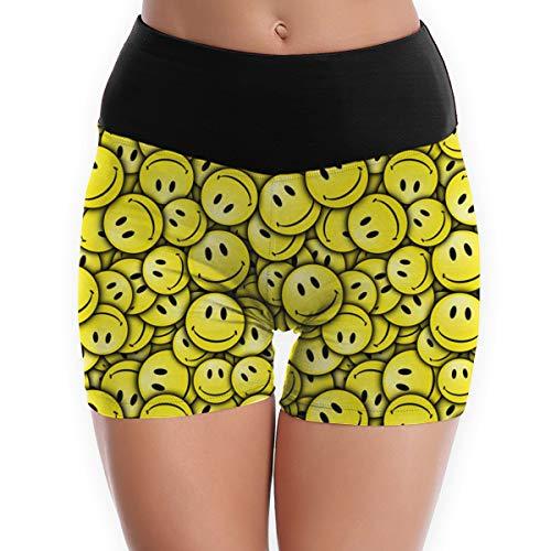 (Compression Shorts Smiley Faces High Waist Yoga Shorts Non See Through Bike Shorts)