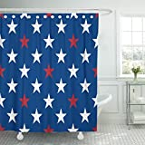 TOMPOP Shower Curtain Blue White and Red Five Pointed Stars Waterproof Polyester Fabric 72 x 72 Inches Set with Hooks