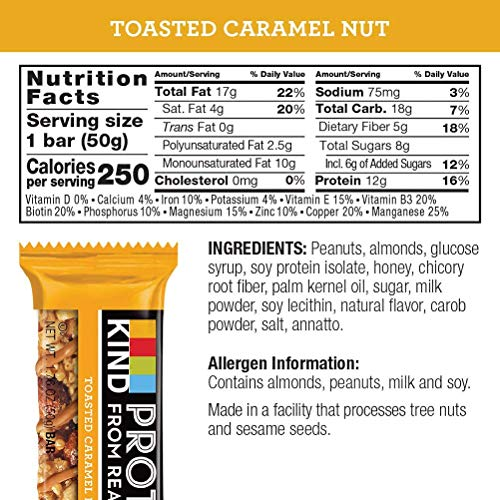 KIND Protein Bars, Toasted Caramel Nut, Gluten Free, 12g Protein,1.76oz, 12 count by KIND (Image #5)