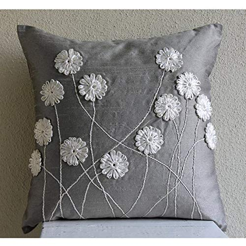 The HomeCentric Luxury Grey Throw Pillows Cover, Ribbon Flower Pillows Cover, 18