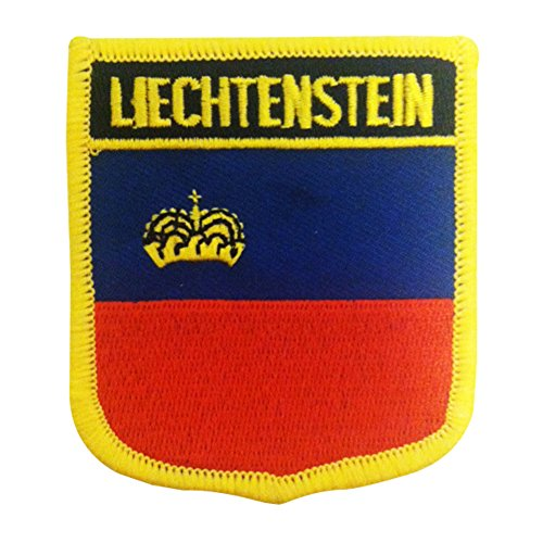 "National Flag of Liechtenstein Iron-On Patch / Embroidered Badge Shield Liechtenstein Fahnenflecken by Backwoods Barnaby (Liechtenstein Crest, 2.75"" x 2.35"")"