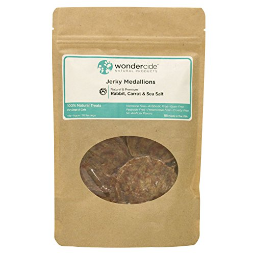 Wondercide Organic Jerky Treats for Dog & Cats - 100% Rabbit Carrot and Sea Salt Rabbit Medallions
