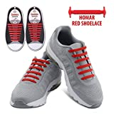 Homar Reflective No Tie Shoe Laces - Best In Alternative Shoelaces - Safty Dirtproof Waterproof Rubber Shoelaces Perfect For Sneaker Boots Oxford And Casual Shoes - Red | amazon.com