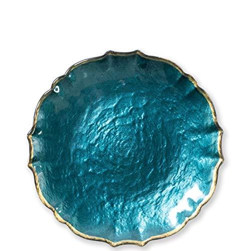 Vietri Viva Baroque Glass Teal Salad Plate - Handcrafted Luxury Tableware