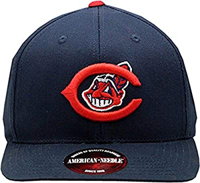 AMERICAN NEEDLE Cleveland Indians Snapback Flat Bill Outfield Blue