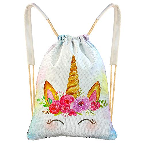 MHJY Unicorn Drawstring Bag,Sequin Backpack Mermaid Magic Reversible Sequin Backpack Glitter Sports Dance Bag Sparkly Beach Travel Backpack Unicorn Gift