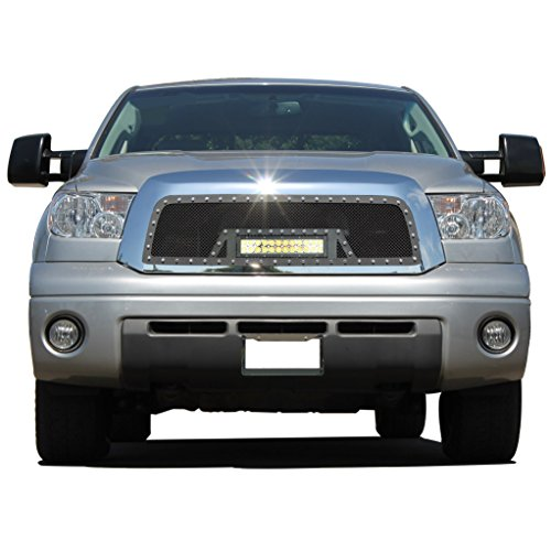 E-Autogrilles 1PC Cutout Rivet Black Stainless Steel Wire Mesh Grille with LED Light (Fits for:07-09 Toyota Tundra) - Grille Toyota Grillcraft Tundra