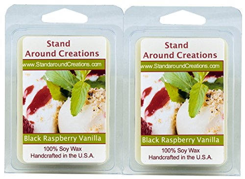 - 100% All Natural Soy Wax Melt Tarts - Set of 2 - Black Raspberry Vanilla: is an enticing blend of blackberries and raspberries, with middle notes of white floral greenery, and bottom notes of musk and vanilla. - 3ozs./ea. - Naturally Strong Scented