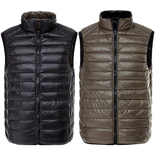 Hibote Double Vest Wear Solid Nero Gi¨´ Inverno Uomo caff¨¨ Laterale rrdqxT6