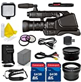 Panasonic AG-AC8PJ Shoulder Mount Video Camera with 3-Inch LCD + 2PC 64GB Extremespeed Memory Cards + Auxiliary Wideangle + Auxiliary Telephoto + LED Light + Cleaning Kit
