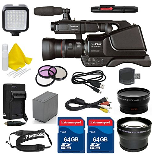 Panasonic AG-AC8PJ Shoulder Mount Video Camera with 3-Inch LCD + 2PC 64GB Extremespeed Memory Cards + Auxiliary Wideangle + Auxiliary Telephoto + LED Light + Cleaning Kit by Celltime Inc.