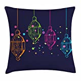 Ambesonne Lantern Throw Pillow Cushion Cover, Candles in Night Sketch in Various Colors with Dots Arabian Motifs, Decorative Square Accent Pillow Case, 18 X 18 Inches, Dark Purple Multicolor