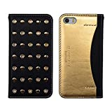 DesignSkin IP5WBST4301 iPhone 5/5S/Se Case, Wetherby Stud Luxurious Style 100% Handcrafted Genuine Cow Leather ID Credit Card Slot Paper Bill Storage Wallet Case - Black