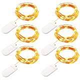 GDEALER 6 Pack Fairy String Lights 7.2ft 20LED Starry String Lights Battery Powered Copper Wire Lights Firefly Lights Leds LED Moon Lights for DIY Dinner Party Decoration Costume Making Warm White