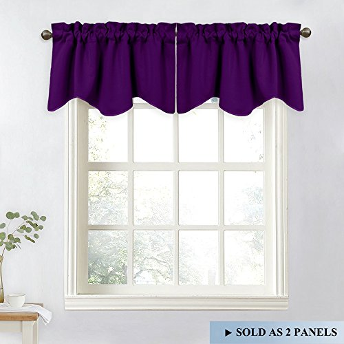 NICETOWN Blackout Window Treatment Valances - 52-inch by 18-inch Rod Pocket Tier Curtains for Kitchen & Bedroom (Royal Purple, 2 Panels) ()