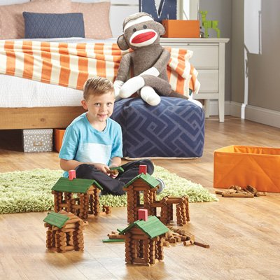 Tumble Tree Timbers Wood Building Set - 450 Pieces. Build Log Cabins. Educational STEM Toy (Frontier Building Set)