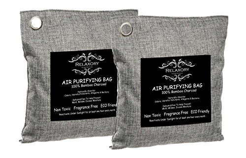 2 Pack - 200g Relaxory Activated Nano Bamboo Charcoal Bag 100% Natural Odor Absorber Air Purifying Dehumididier