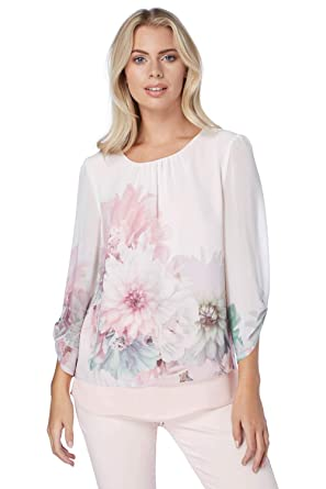 0889d374166157 Roman Originals Women Floral Print Chiffon Overlay Top - Ladies Pastel  Loose Frill Going Out Summer Stunning Smart Blouse with Sleeves for Daytime  & Evening ...