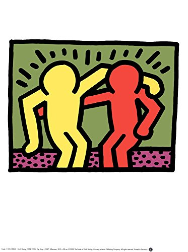 Best Buddies, 1990 by Keith Haring Art Print, 12 x 16 inches