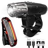 LED Bike Light Kit - Rechargeable Bicycle Headlight $ Tail Light Set USB