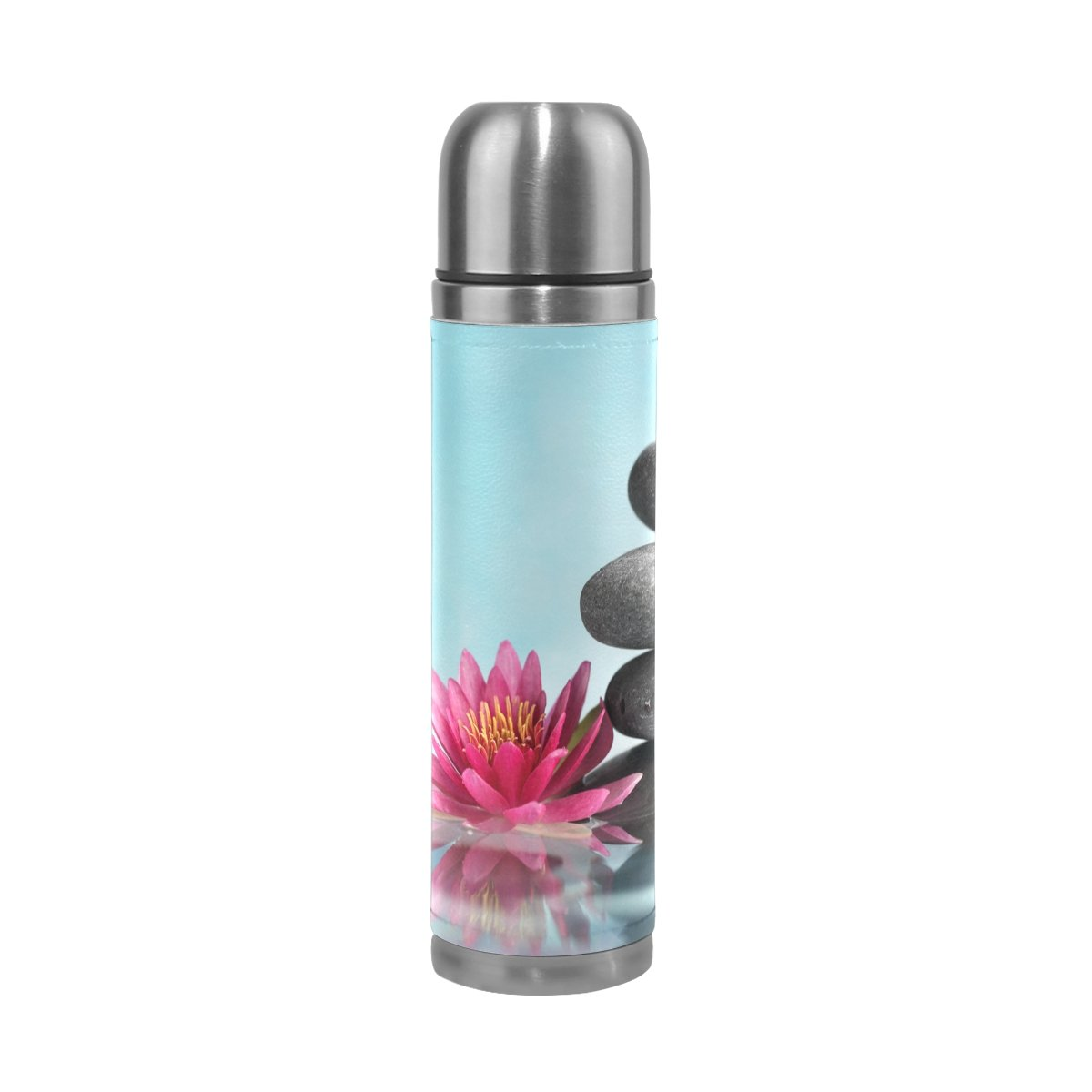 YZGO Vacuum Water Bottle Coffee Mug PU Leather Spa Life Water Lily Zen Leak-proof Double Walled Stainless Steel Cup Travel - Unique Custom Birthday Gift