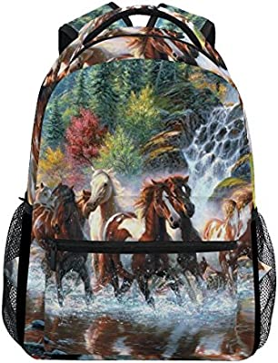 Fashion Laptop Backpack for Men and Women,Group of Horse Playing Waterfall Shoulder Backpack Hiking Bag Travel Backpack Rucksack Bookbag for High School//College Student