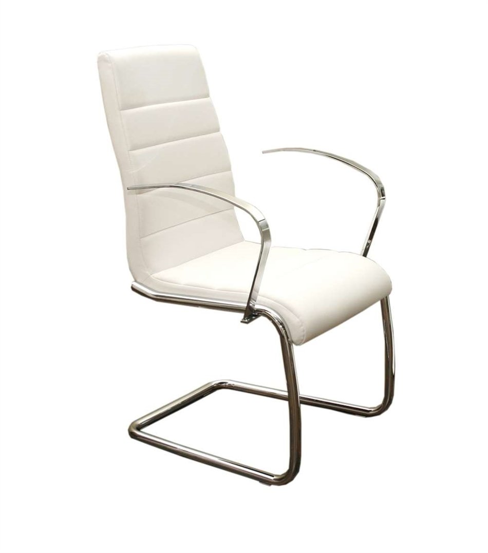 Casabianca Furniture Avenue Collection Arm Dining Chair - White