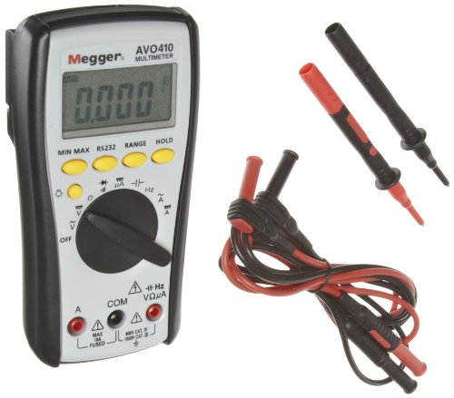 Multímetro digital Megger AVO410-USTCAL, 1000 V CC, voltaje de 750 V CA, CATIV 600 V nominal con un certificado de calibración rastreable por NIST con datos