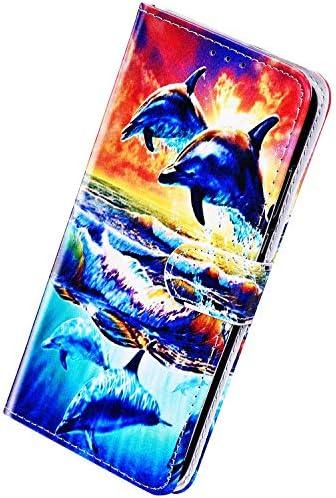 Herbests Kompatibel mit Samsung Galaxy J6 2018 Hülle Leder Schutzhülle Vintage Handyhülle mit Marmor Muster Flip Brieftasche Hülle Stoßfest Wallet Leder Handytasche Kartenfach Magnet,Delphin