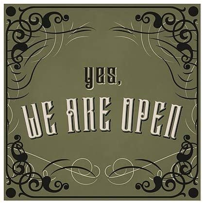 5-Pack Yes We are Open CGSignLab 12x12 Victorian Gothic Window Cling