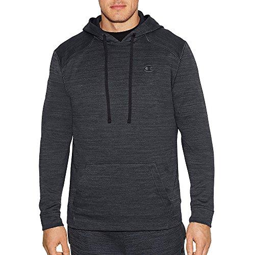 Champion Men's Premium Performance Fleece Pullover Hoodie, Stealth Heather/Black, Medium