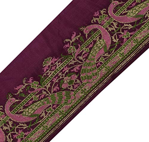 Vintage Sari Border Craft Trim Woven Zari & Silk Brocade Peacock Banarasi - Silk Brocade Border