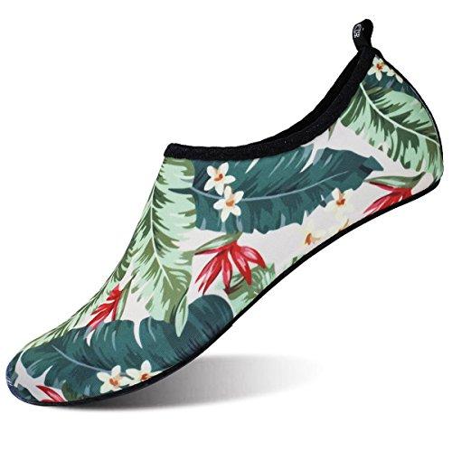 Barerun Unisex Water Shoes Barefoot Skin Shoes for Run Dive Surf Swim Beach Yoga Green Women Size 5.5-6.5