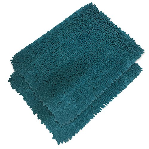 Elegant Bath Set of 2 Microfiber Shag Bath Mat, Non slip Backing, Ultra Soft, Extremely absorbent and Fast Drying. Durable, Easy Cleaning, Machine Washable. 5 different colors. Turquoise, (Elegant Mat)