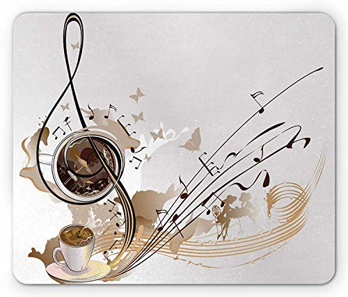 (HUNAFIVG Coffee Mouse Pad, Rhythm Melody Notes with Coffee Beans Positive Butterfly Muses Creative Art, Standard Size Rectangle Non-Slip Rubber Mousepad, Cocoa Brown Coconut )