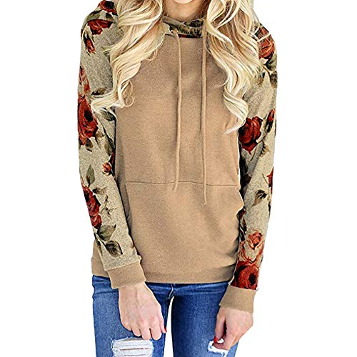 - Sweatshirts for Women, Toimoth Woman Long Sleeve Stitching Pocket Hooded Sweatshirt Print Blouse(Gold,S)
