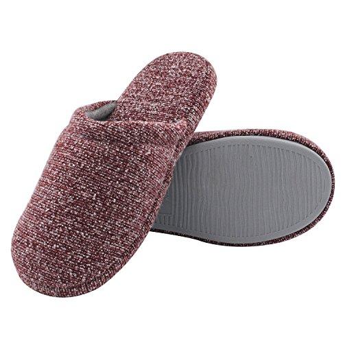 HomeTop - Zapatillas de estar por casa para mujer granate