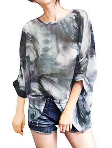 sourcingmap Mujer Semitransparente Estampado Manga murciélago Holgado Blusa Túnica Gris