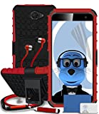 Vodafone Smart Platinum 7 Red Shock Proof Rugged Hard Case with Viewing Stand - LCD Screen Protector - Retractable Mini Stylus Pen - 3.5mm ZIPPER Stereo Hands Free HeadPhones with Mic